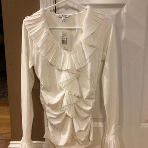 Cabi pleated Gardenia blouse